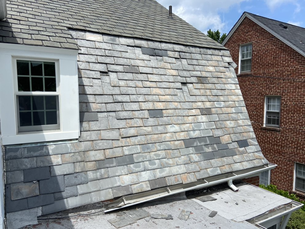 Slate roof needing repairs