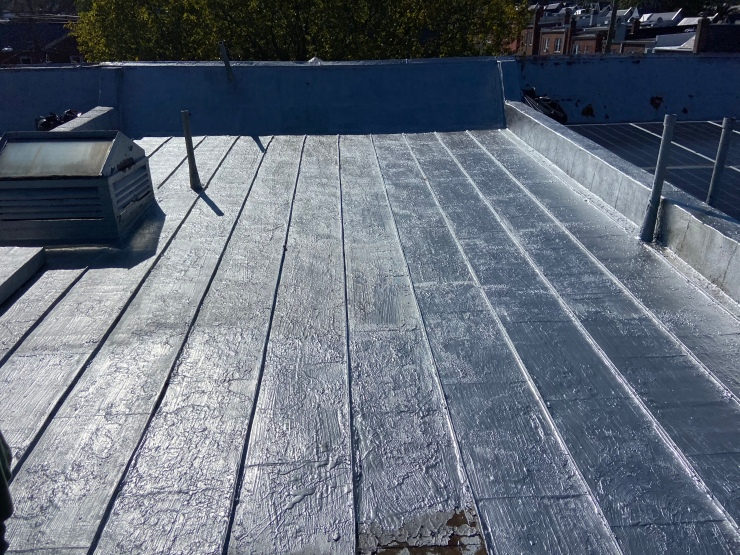 Coated metal roof